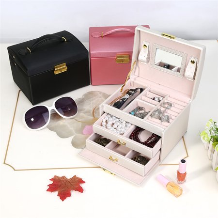 Leather Jewelry Organizer Box Three Layer Ring Storage Earring Jewelry Box Organizer with Lock Key and Mirror for Girls Teens Women Gift (White​)