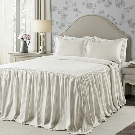 Lush Decor Ticking Stripe Bedspread Wheat 3Pc Set Full