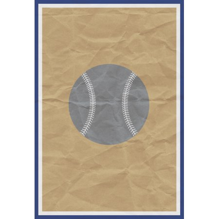 - Gray Baseball Old Brown Paper Background Print Art Sports Home Decoration Inspirational Motivational Poster