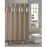 15pc TAUPE MOSAIC Bathroom Set Printed Banded Rubber Backing Rug Bath Mats With Fabric Shower Curtain and Fabric-Covered Shower Hooks