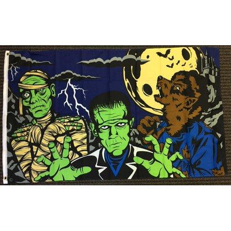 3x5 Monster Fright Night Halloween Flag Frankenstein Mummy Werewolf Full Moon