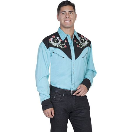 Scully Western Shirt Mens L/S Snap Embroidered Horseshoe P-660