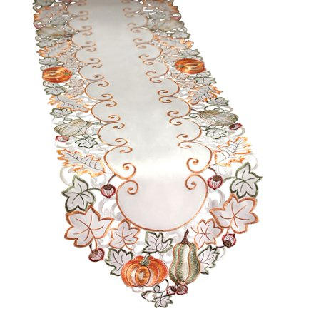 Autumn Leaves Table Runner (Die-cut Autumn Harvest Decorative Table Linens with Scalloped Edges - Accents of Pumpkins, Autumn Leaves, Acorns and Gourds,)