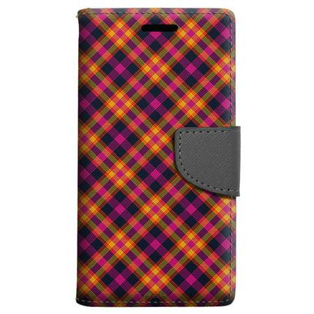 Alcatel Pop 4 Wallet Case - Yellow Pink Plaid Case