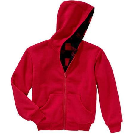 BOCINI Boys Reversible Fleece Hooded Jacket, Available in Buffalo and Camo Prints thumbnail