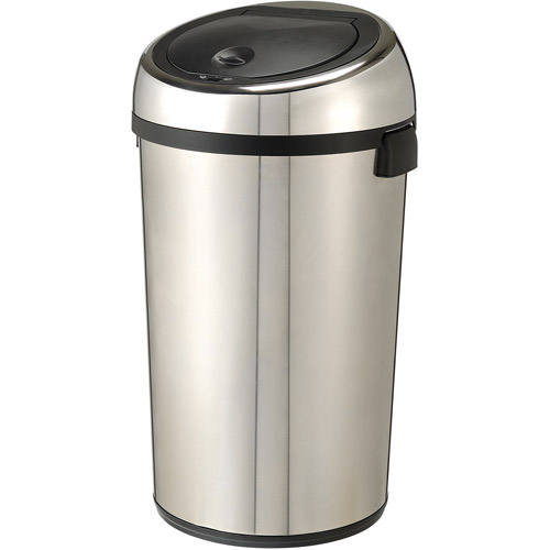 Nine Stars Round Sensored 21.1-gal Trash Can with Bonus AC Adapter, Stainless Steel