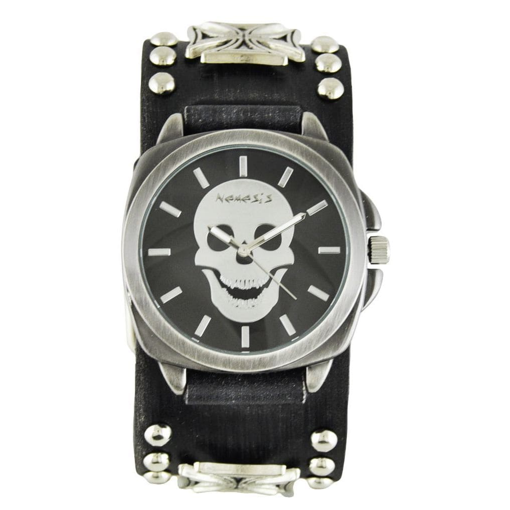 Nemesis Men's Faded Black Iron Cross Studded Leather Black Skull Head Watch by Overstock