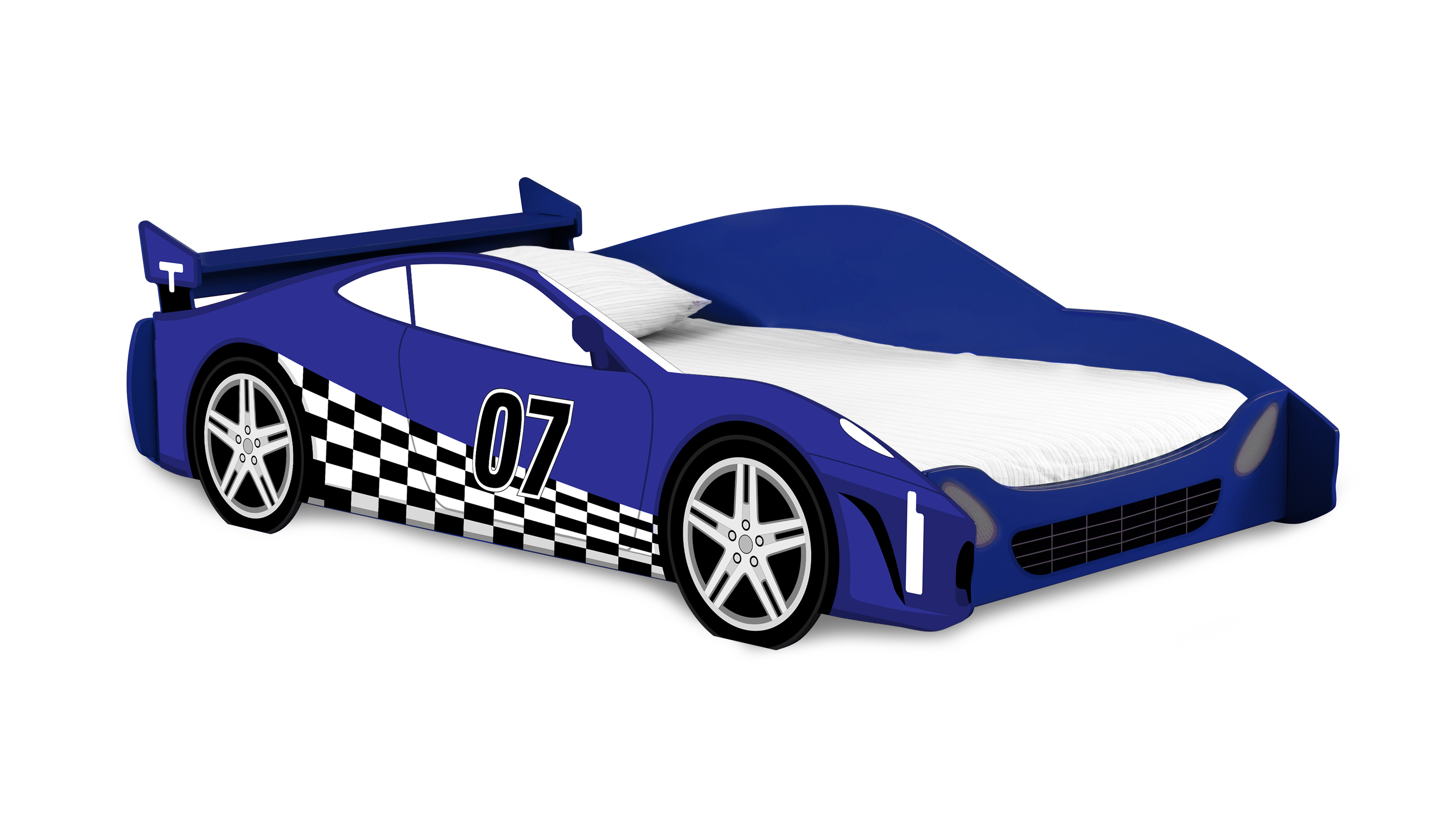 Legare Kids Twin Bed No Tools Assembly Race Car Bed Blue And White Walmart Com Walmart Com