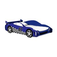 Legare Kids Twin Bed, No Tools Assembly, Race Car Bed, Blue and White