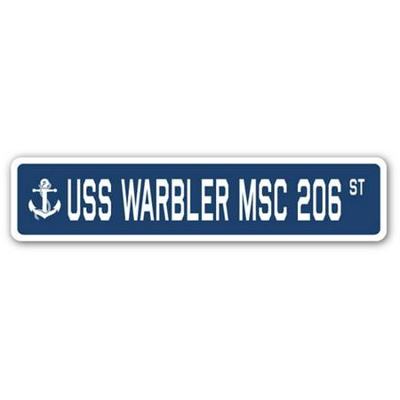 - USS WARBLER MSC 206 Street Sign us navy ship veteran sailor gift