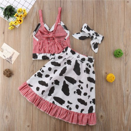 4Pcs Toddler Baby Kids Girls Crop Tops Cow Shorts Pants Skirts Outfits Clothes