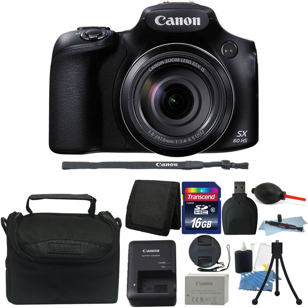 New! Canon PowerShot SX60 HS 16.1MP 65X Optical Zoom Wifi / NFC Digital Camera Black + Quality Accessories