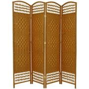 Oriental Furniture 5 1 / 2 ft. Tall Fiber Weave Room Divider, Light Beige, 4 Panel