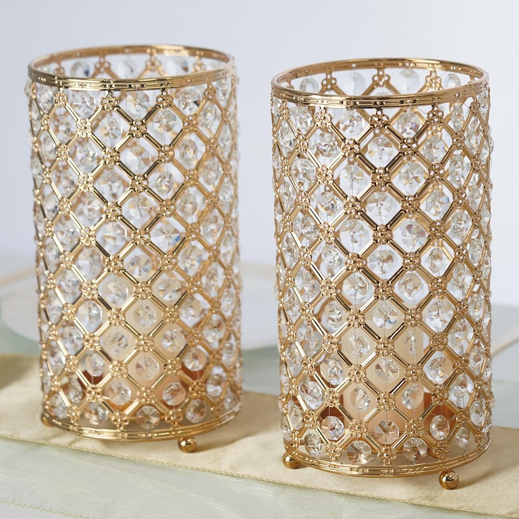 """BalsaCircle 2 pack 9"""" tall Crystal Beaded Metal Candle Holders - Wedding Centerpieces Party Dining Home Decorations"""