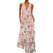 Plus Size Causal Boho Dress Women Sleeveless V Neck Long Maxi Dress Butterfly Print Summer Beach Sundress