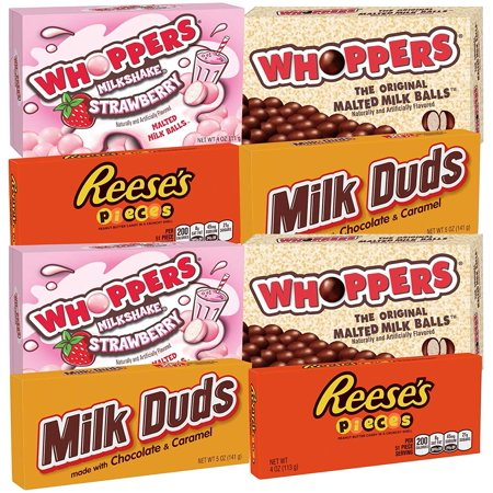 Bulk Bundle Variety Snack Mix of Whoppers Original, Whoppers Milk Shake Strawberry, Milk Duds, Reeses Pieces (8 Pack) - Reese Pieces Halloween Size