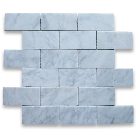carrara white italian carrera marble subway brick mosaic tile 2 x 4