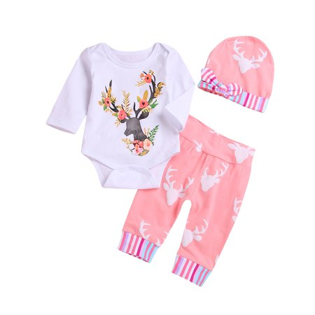 cc1a61996434 3PCS Newborn Infant Baby Girls Outfit Clothes Romper Bodysuit  Jumpsuit+Pants Set 6-12 Months