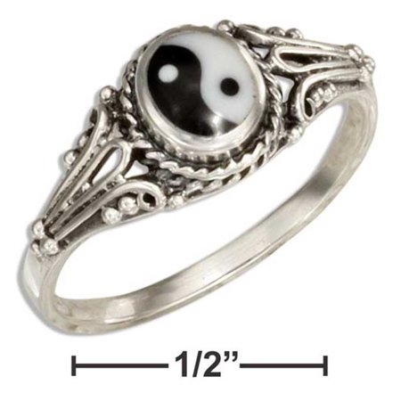 P-020584-08 8 in. Sterling Silver Black & White Yin Yang Ring - image 1 of 1