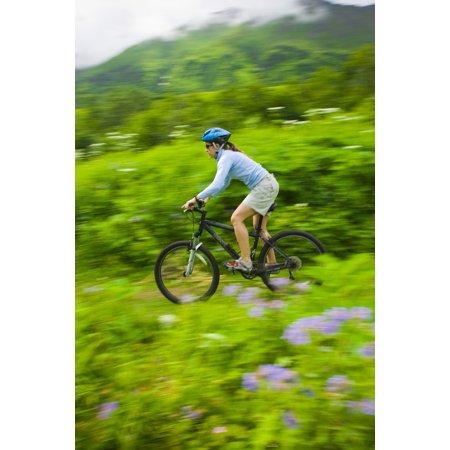 Woman Mountain Biking On Mint Glacier Trail In The Hatcher Pass Area Talkeetna Mountains Southcentral Alaska Summer Canvas Art - Michael DeYoung  Design Pics (22 x