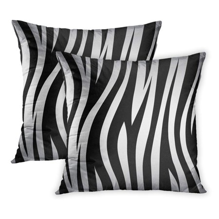 ECCOT Orange Zebra Stripe s Jungle Bengal Tiger Pattern White Black Stripes Abstract PillowCase Pillow Cover 18x18 inch Set of 2