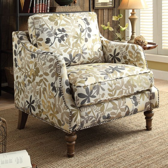 Missoni Style Print Accent Chair: Coaster Leaf Print Accent Chair In Beige And Green
