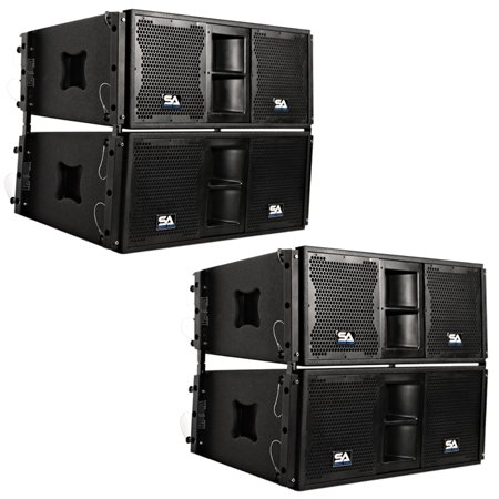 Seismic Audio Four Premium Passive 2x10 Line Array Speakers with Dual Compression Drivers -