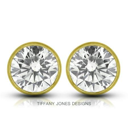 0.42ct tw H-VS2 VG Round Cert. Diamonds 14k Bezel Set Modern Style Earrings
