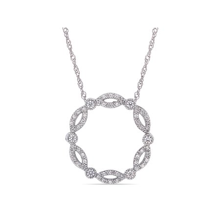 5/8 Carat T.G.W. Created White Sapphire 10kt White Gold Geometric Open Circle Necklace, 17 (10kt White Gold Necklace)