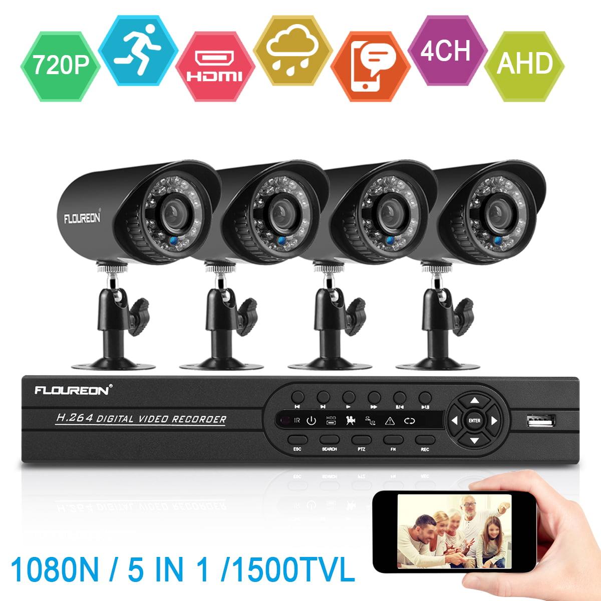 floureon 4ch cctv dvr 1500tvl camera night vision home security