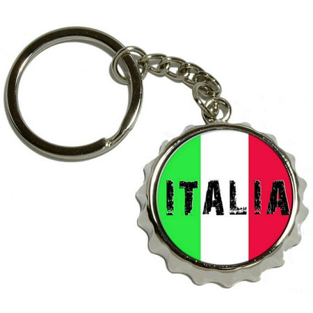 italia italy italian flag nickel plated metal popcap bottle opener keychain key ring. Black Bedroom Furniture Sets. Home Design Ideas