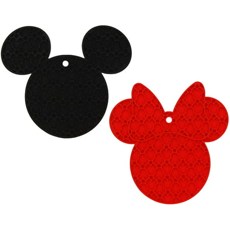 Disney Mickey and Minnie Mouse 100% Silicone Trivets, 2pk - Multipurpose Flexible Kitchen Tool - Use as Pot Holders, Spoon Rest, Jar Opener, or Heat Resistant Hot Pads up to 500 degrees F