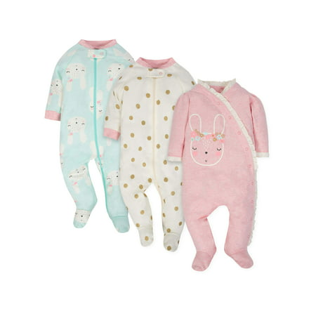 Gerber Organic Cotton Sleep N Play Pajamas, 3pk (Baby -