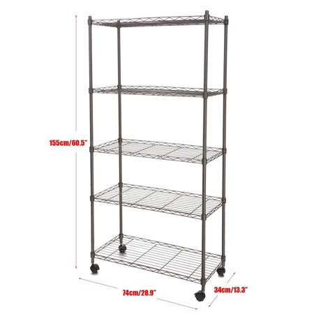 Classic Vanity Shelf - Unbranded Classic 5 Tier Wire Shelving Rack Shelves with Wheels shelving units BYE