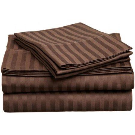 400 Thread Count Egyptian Cotton California King Sheet Set Stripe  Mocha - image 1 of 1