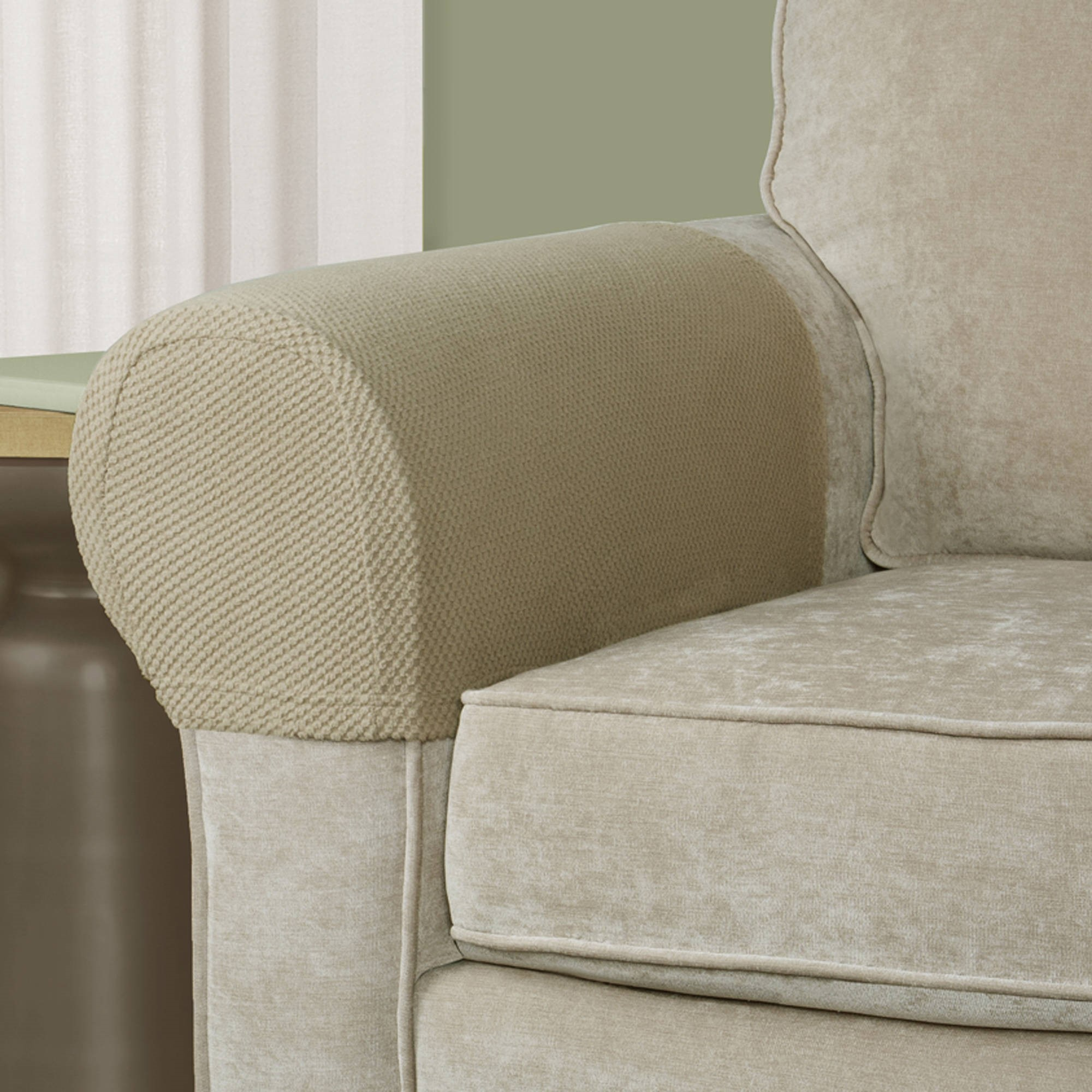 Maytex Pixel Stretch Furniture Cover/Slipcover Arm Covers, 2  Piece