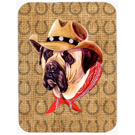 Caroline's Treasures Mastiff Dog Country Lucky Horseshoe Glass Cutting Board