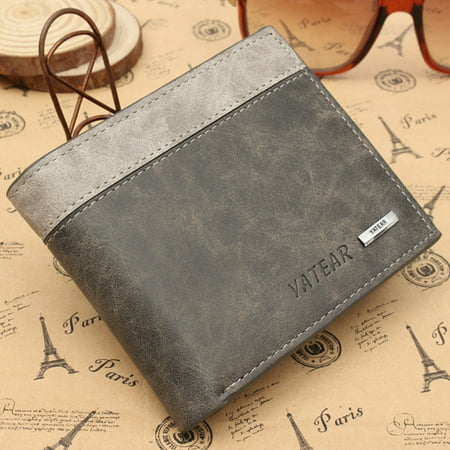 Men's Bifold Leather Wallet ID Credit Card Holder Billfold Purse Slim Clutch USA Billfold Credit Card Holders