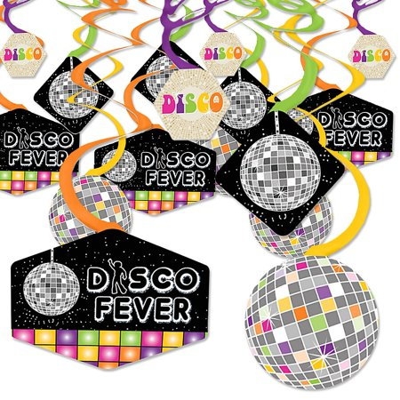 70's Theme Decorations (70's Disco - 1970s Disco Fever Party Hanging Decor - Party Decoration Swirls - Set of)