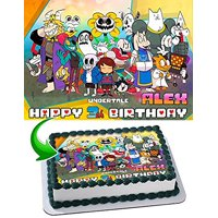 Undertale Edible Image Cake Topper Personalized Birthday 1/4 Sheet Decoration Custom Sheet Party Birthday Sugar Frosting Transfer Fondant Image Edible Image for cake