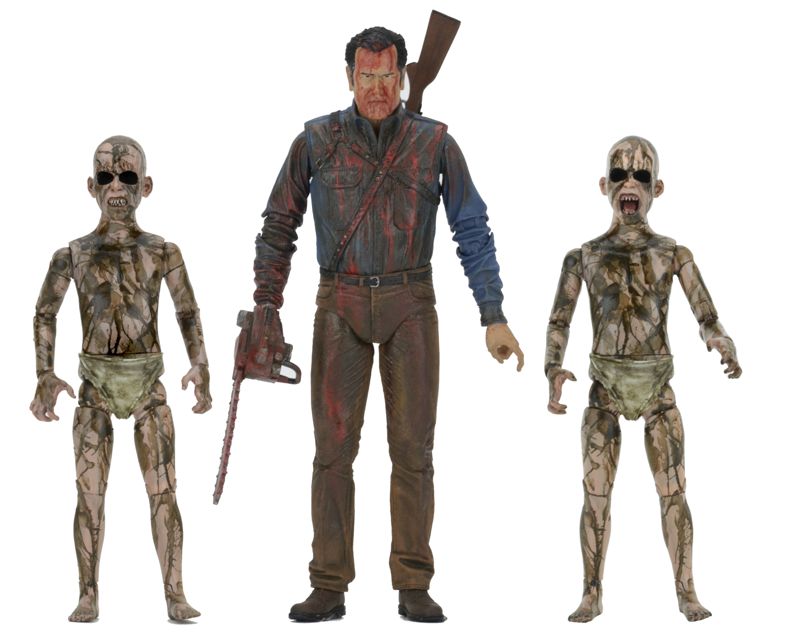 "Ash vs Evil Dead 7"" Scale Action Figure – Bloody Ash vs Demon Spawn 3 Pack by Neca"