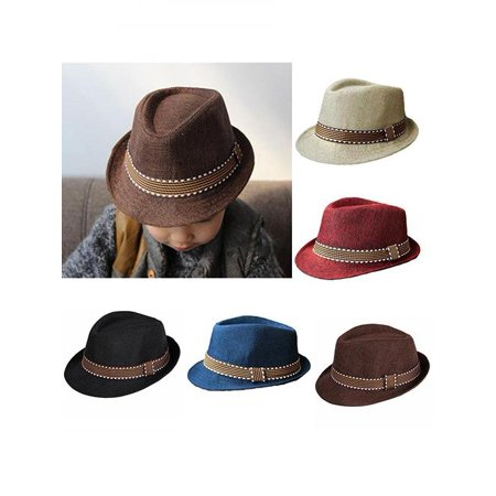 Unisex Kids' Fashion Cool Jazz Pitched Crown Short Brim Hat Cap Fedora Hat