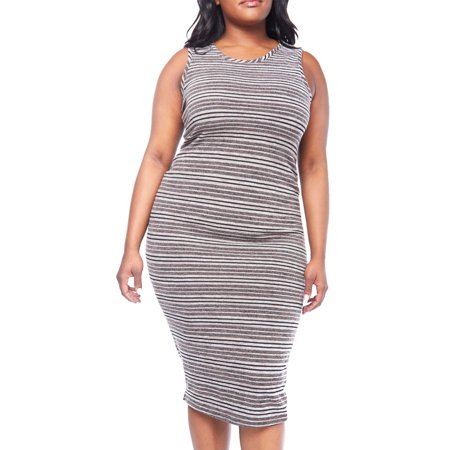 Womens Plus Curvy Lovely Fancy Stretched Beautiful Contrast Midi Dress GKD4811-XL-Brown (Fancy Dress Express Delivery)