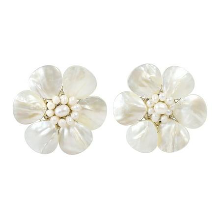 Pretty White Mother of Pearl Flower Clip On - White Pearl Flower Earrings