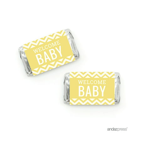 Yellow Chevron Baby Shower Hershey´s Miniatures Mini Candy Bar Wrappers, - Personalized Hershey Bar Wrappers