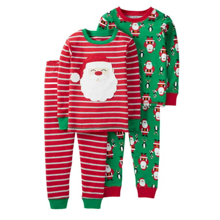 Carters Infant & Toddler Boys Red Santa Pajamas PJs 2 Pack Set