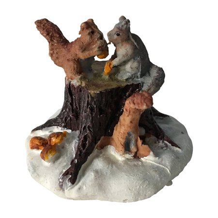 Lemax Village Collection 2003 Chipmunks On Tree Stump Figurine 32693Made of Polyresin; Works along with Dept 56 By LEMAX CHRISTMAS VILLAGE at The Neighborhood Corner Store - Lemax Halloween Village Clearance