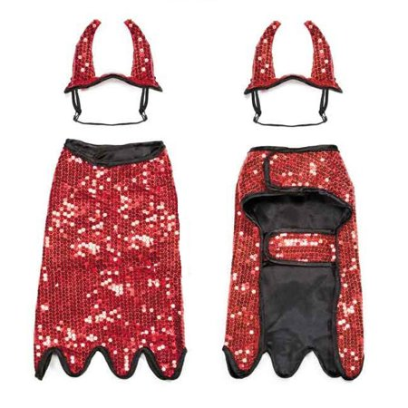 Devil Cape Costume (Dog Halloween Costumes Red Sequin Devil Cute Sparkly Cape & Horns 2 Piece Outfit)
