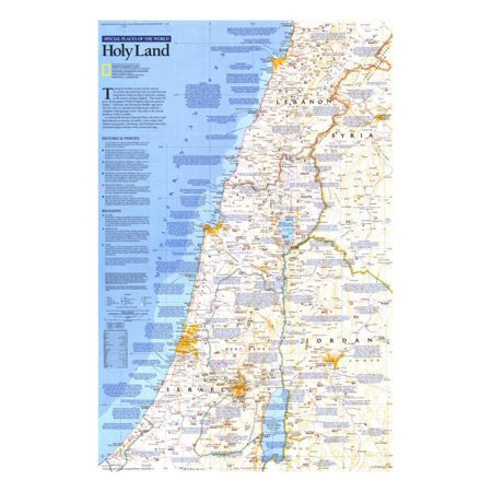 1989 Special Places of the World, Holy Land Map Print Wall Art By National Geographic Maps (Holy Land Pictures)