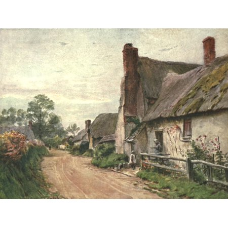 Hardy Country Water-colours 1900 Cottage at Tincleton nr Dorchester Stretched Canvas - Walter Tyndale (18 x 24)